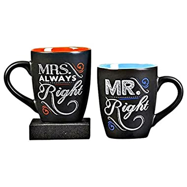 ChalkTalk Coffee Mug Set, 11 Ounces Each. Mr. Right and Mrs. Always Right. Set of 2