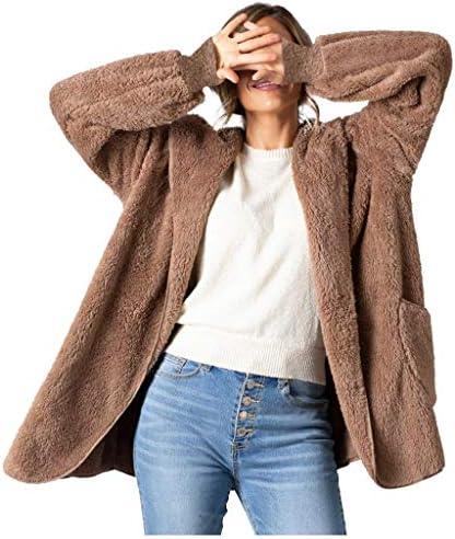 Henwerd femmes fausse fourrure à manches longues à capuche cardigans veste manteaux avec poche sweat décontracté vêtements dextérieur