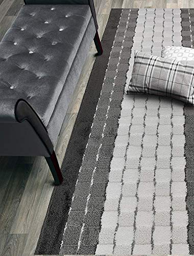 Custom Size Hallway Runner Rug Slip Resistant Rubber Back, 26 Inch Wide x Your Choice of Length Size, Checkered Anthracite White, 26 Inch X 6 feet ()