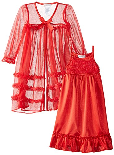 Komar Kids Little Girls' Toddler Peignoir Gown Set, Red, 4T