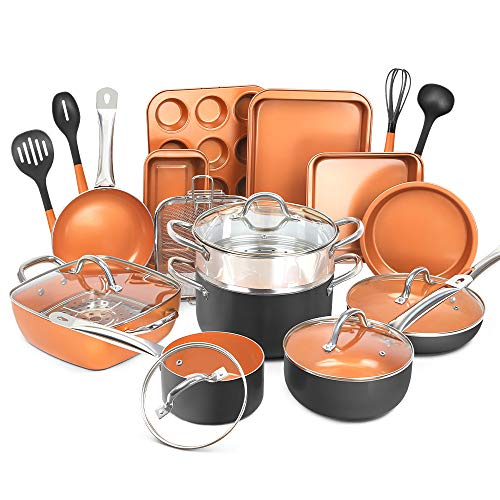 SHINEURI Copper 24 Peices Nonstick Cookware Bakeware Set and Frying Pan Set, Deep Square Pan Cookware Set, Cooking Utensil - Dishwasher & Oven Safe, PFOA / PTFE Free