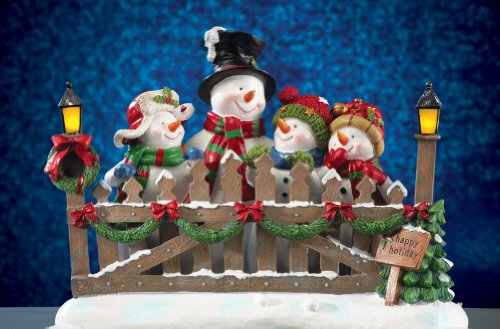 Snowman Family Light Post Collectible Lighted Sculpture
