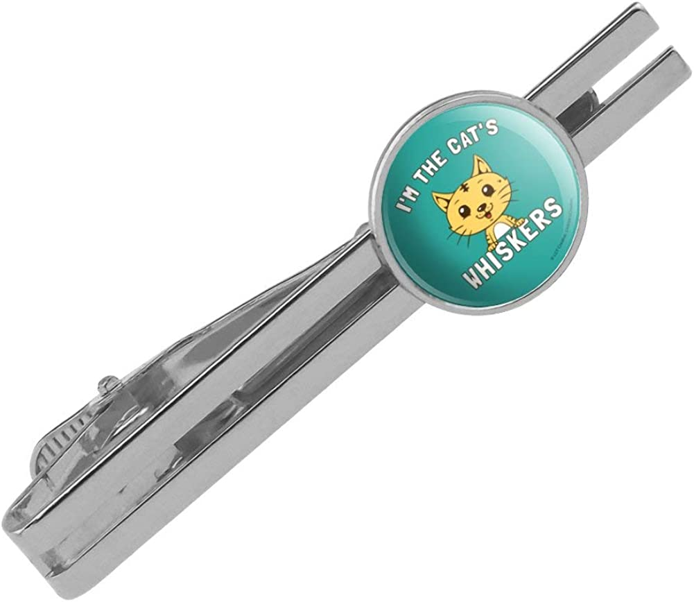 GRAPHICS /& MORE Im The Cats Whiskers Funny Humor Round Tie Bar Clip Clasp Tack Silver Color Plated