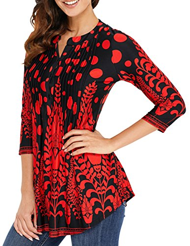 - Womens Floral Print Blouse Tops 3/4 Long Sleeves Casual Loose Floral Tunic Button Up Print Shirts Red