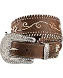 Nocona Women's Wide Crystals Floral Embroidery Belt, Brown, S