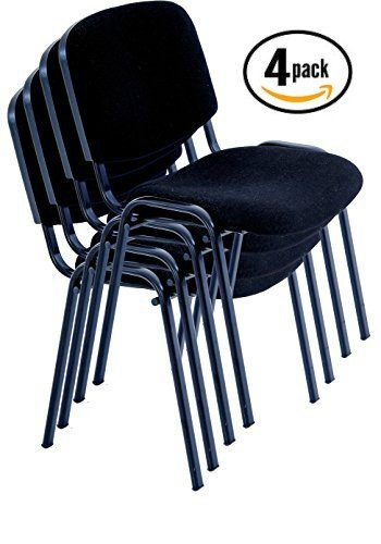 Meeting Conference Chair (allchairsanddesks Black Modern STACKING CHAIRS in comfortable cloth - suitable for office, training, conferences, churches, community centres and home. Sold in a (PACK of 4) chairs.)