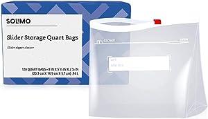 Amazon Brand - Solimo Slider Quart Food Storage Bags, 120 Count