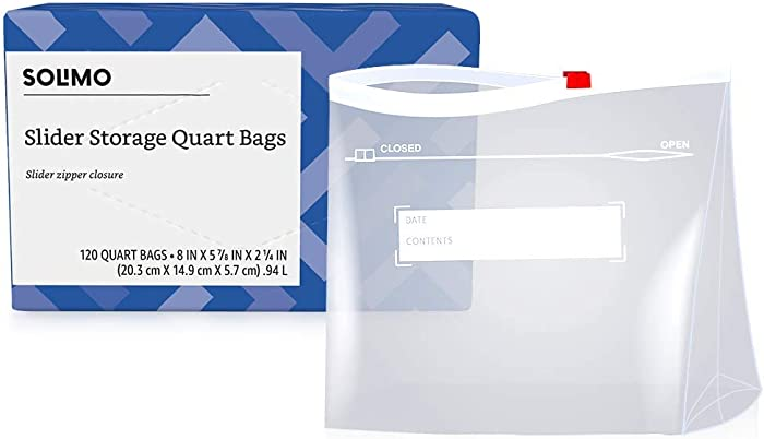 Amazon Brand - Solimo Slider Quart Food Storage Bags, 120 Count