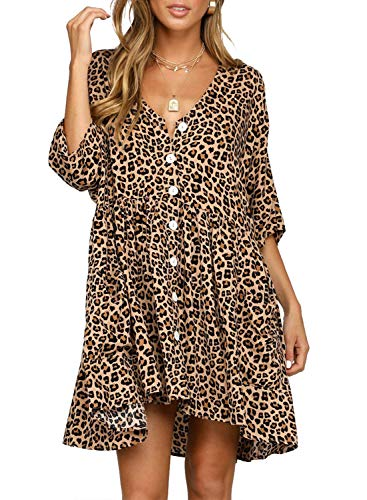 Happy Sailed Women Leopard Short Sleeve Button Down V Neck Casual Loose T-Shirt Swing Tunic Dresses with Pockets Large Black