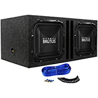 Package:2 Hifonics BRZ12SQD4 12 2400 W Dual4Ohm SquareDesign CarAudio Subwoofers+Rockville RKDV12 Dual 12 Vented Subwoofer Enclosure+Dual Enclosure Kit w/14 Gauge Speaker Wire+Screws+Spade Terminals