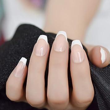 EchiQ - Uñas postizas de café francés, color blanco natural, 24 ...
