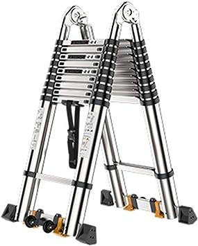Extensibles Escalera telescópica escalable Inicio Laadder de extensión extensible plegable con ruedas Multiuso para interiores al aire libre 5 tamaños (Size : 2.1m+2.1m=straight 4.2m): Amazon.es: Bricolaje y herramientas