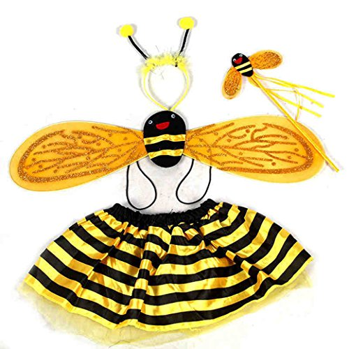 Lujuny Fairy Bug Wing Costume Set - Cute Wings, Tutu Dress, Wand and Headband (Yellow Bee) -