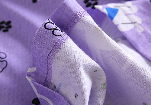 Women\'s Cotton Sleepwear Long Sleeves Nightgown Print Tee Sleep Dress (X-Large, Purple Dog)