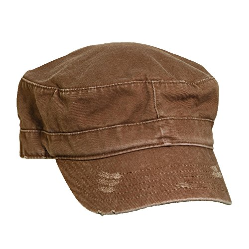 Dorfman Pacific Unisex Distressed Cotton Military Cadet Hat, Brown One Size - Pacific Military Hat