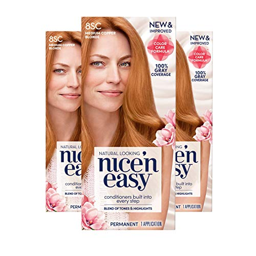 Clairol Nice 'n Easy Permanent Hair Color, 8SC Medium Copper Blonde, 3 Count, Blondes (Packaging May Vary)