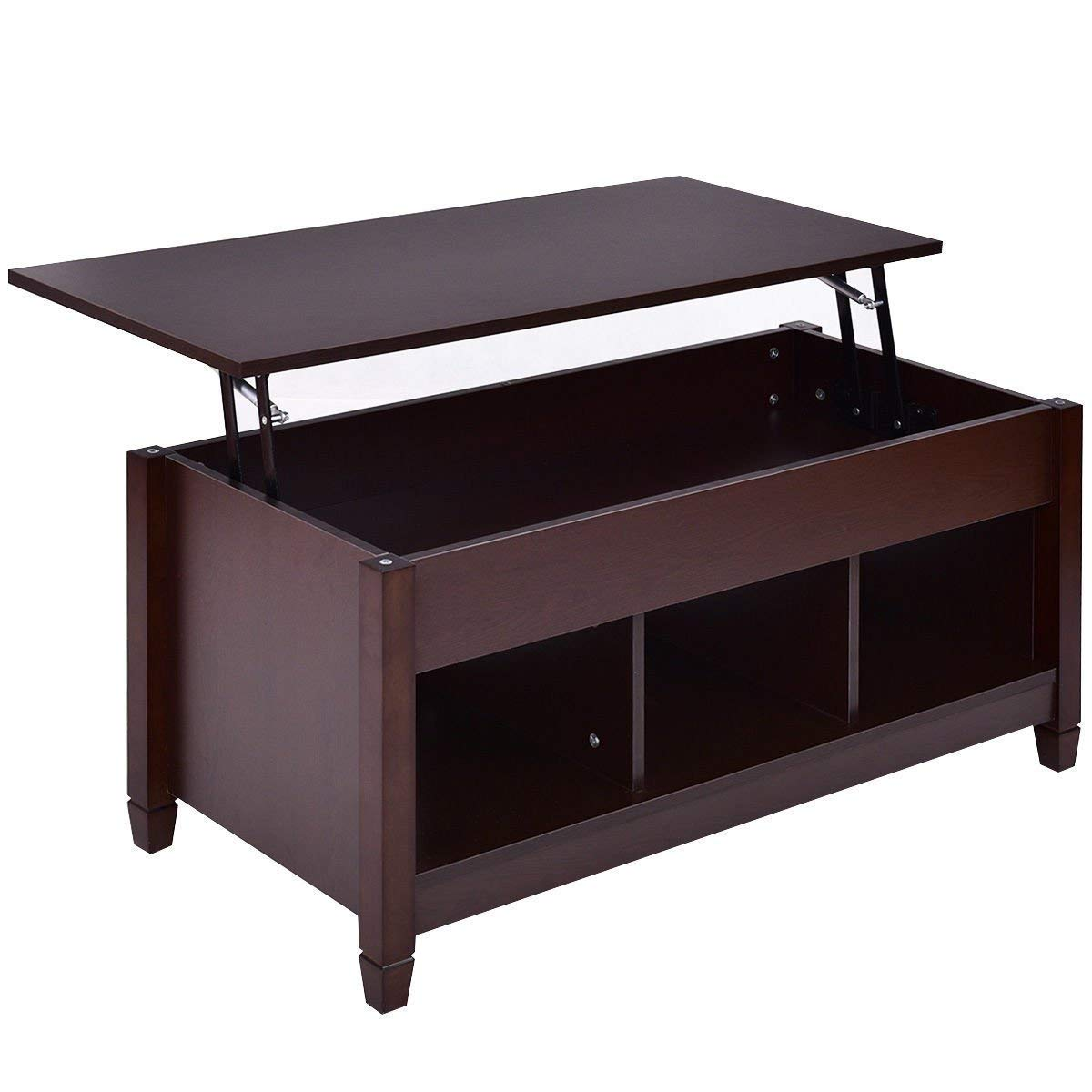 TANGKULA Coffee Table Lift Top Wood Home Living Room Modern Lift Top Storage Coffee Table w/Hidden Compartment Lift Tabletop Furniture (Brown with Lower Shelf) Lift top coffee table