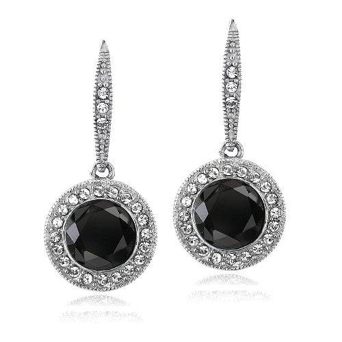 Black & Clear Crystal Earrings - 3