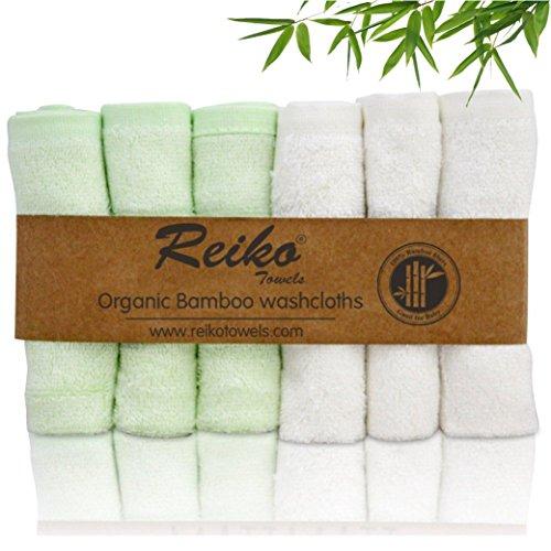 Reiko Bamboo Baby Washcloths  6 Pack    Premium Extra Soft   Absorbent Towels For Baby S Sensitive Skin   Perfect 10 X10  Reusable Wipes   Excellent Baby Shower   Registry Gift