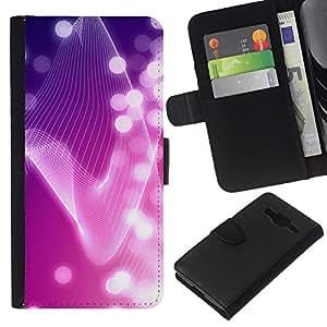 KLONGSHOP // Tirón de la caja Cartera de cuero con ranuras para tarjetas - Líneas brillantes luces blancas Girly - Samsung Galaxy Core Prime //