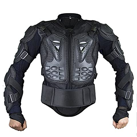 Webetop Mens Mesh Motorcycle Protective Jacket With Armor Full Body Spine Chest Shoulder Arm Protector Gear for Motorbike Motorcross Racing MTB Black L