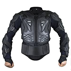 Webetop Mens Mesh Motorcycle Protective Jacket With Armor Full Body Spine Chest Shoulder Back Protector Gear for Motorbike Motorcross Racing MTB Black,L