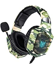 Xbox One Gaming Headset for PS4,PC,LED Light On Ear Headphone with Mic for Mac,Laptop,Nintendo Switch Games (Camo)
