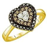 0.50 Carat (ctw) 14k Yellow Gold White, Cognac And Black Diamond Ladies Heart Bridal Promise Ring 1/2 CT