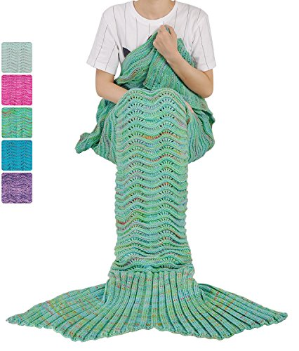 Mermaid Tail Blanket for Teen Girls with Anti-slip Neck Strap Wave Pattern | Soft Sleeping Bag for All Seasons Green ()