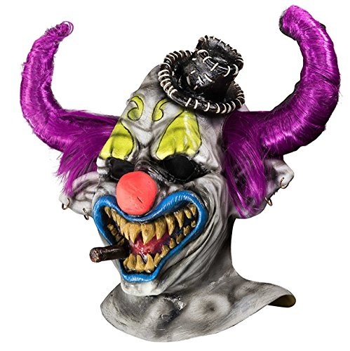[Rubie's Men's Dj Ashba Clown Deluxe Overhead Mask, Multi, One Size] (Deluxe Evil Clown Mask)