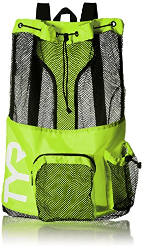 Nylon Wetsuit - TYR Big Mesh Mummy Backpack, Yellow, One Size