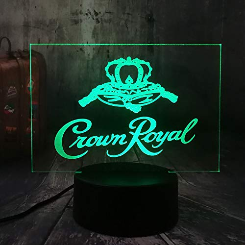 AAMOUSE New Crown Royal Whiskey Whiskey Wine 3D LED Night Light Table Desk Lamp Home Office Room Decor New Year Xmas Christmas Gift