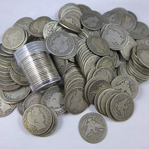 Barber Half Dollars Various Mint Marks Random Dates 90% Silver - 20 Coin Roll Avg Circ AG-G
