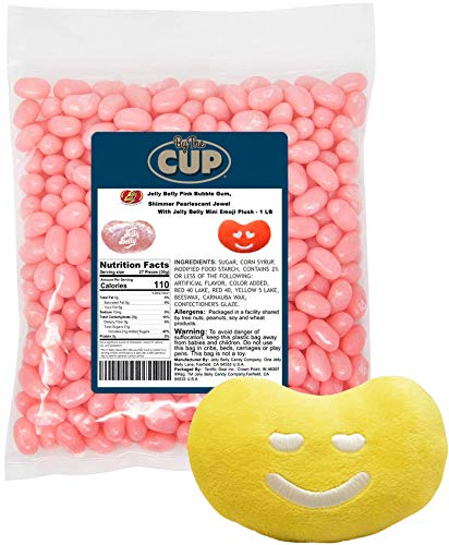 Jelly Belly Jelly Beans Pink Bubble Gum Shimmer Pearlescent Jewel 1 Pound Bag with Jelly Belly Mini Emoji Plush