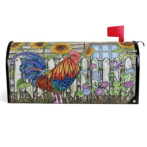 Wamika Rooster Sunflower Floral Mailbox Covers Magnetic Mailbox Wrap Post Letter Box Covers 18
