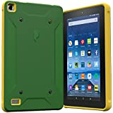 Fire 7 2015 Case, Poetic QuarterBack [Corner/Bumper Protection][Replaceable back][Dual protection]- Stylish PC+TPU Case for Amazon Fire 7 5th Gen (2015) Green/Yellow