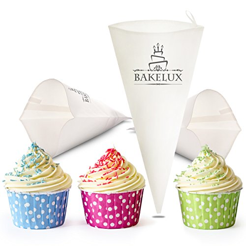 18-Inch Pastry Bags (3 Pack) - BakeLux Commercial Grade Reusable Cotton Icing Bags Set - Featherweight Piping Tips Bags - Duyas Reposteria - Professional Cake Decorating And Baking Kit Tools Supplies