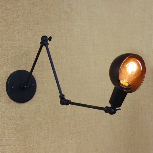 Arm Vintage Swing (Retro Vintage Industrial Steel Swing Long Arm Adjustable Angle Wall Sconce Wall Light Lamp Shade for E26 Bulbs Balck for Living Room Bedside Home Decor Light of LightInTheBox)