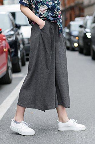 YOU.U Mujer Pull-on Pantalones de pierna ancha Colección (Haga clic para ver todos los 3 Estilo) Gris Estilo A