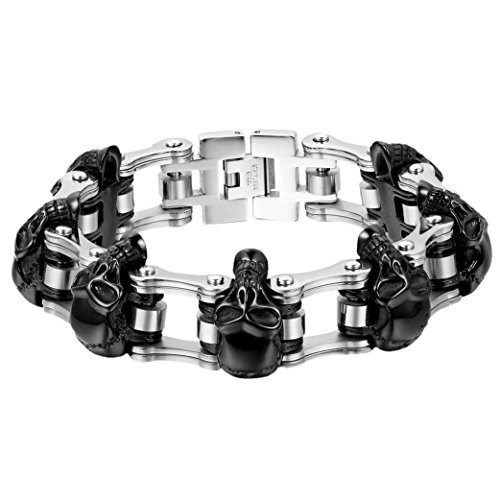 Oidea Mens Stainless Steel Vintage 16MM Large and Heavy Skull Charm Biker Bangle Bracelet,Silver and Black Tone, 7.2 Inch