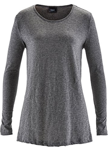 Damen Jerseyshirt mit langen Ärmeln, 223312 in Grau meliert