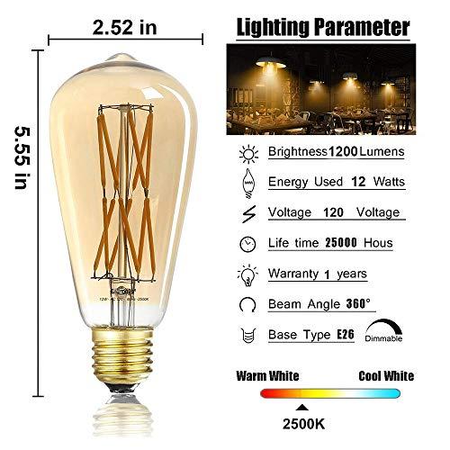 LEOOLS LED Amber Edison Bulb Dimmable 12W, 2500K Warm White,1200LM, 100W Equivalent, E26 Edison Style Vintage LED Filament Decoration Light Bulb,Pack of 4.