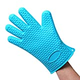 Heat Resistant Silicone BBQ Gloves - Best Protective Insulated Oven, Grill, Baking, Smoker or Cooking Gloves -Replace Your Potholder and Mitts - Five Fingered Waterproof Grip