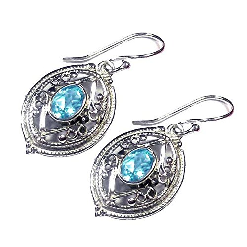 Sitara Collections SC10432 Sterling Silver Earrings, Hand-Crafted Blue Topaz (Designer Jewelry Topaz Set)