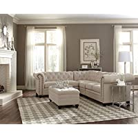 Coaster Roy Button Tufted Sectional in Oatmeal