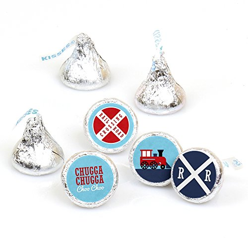 Railroad Party Crossing - Steam Train Birthday Party or Baby Shower Round Candy Sticker Favors - Labels Fit Hershey's Kisses (1 Sheet of 108) ()