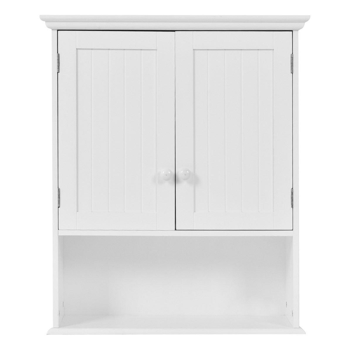 TANGKULA Wall Mount Bathroom Cabinet Wooden Medicine Cabinet Storage ...