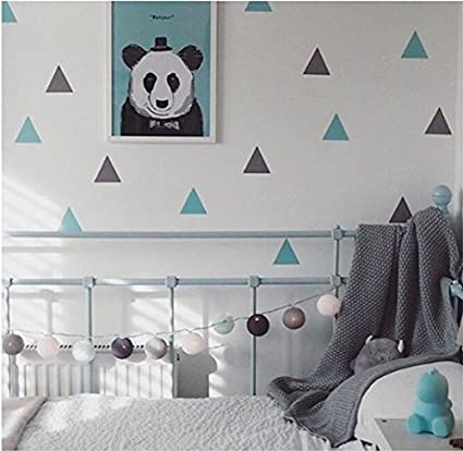 Milk and Poop Removable Wall Stickers | Mint / Grey Triangles
