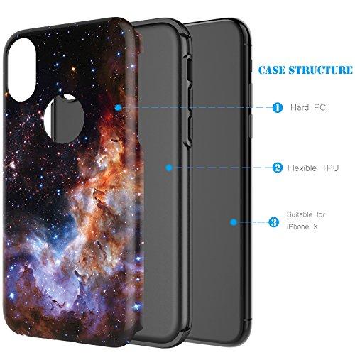 iPhone X Case,iPhone 10 Case,BENTOBEN Nebula Galaxy Universe Design Slim Shockproof 2 in 1 Hybrid Hard PC Flexible TPU Protective Phone Cover for Apple iPhone X/iPhone 10 5.8'', Blue/Purple Photo #4