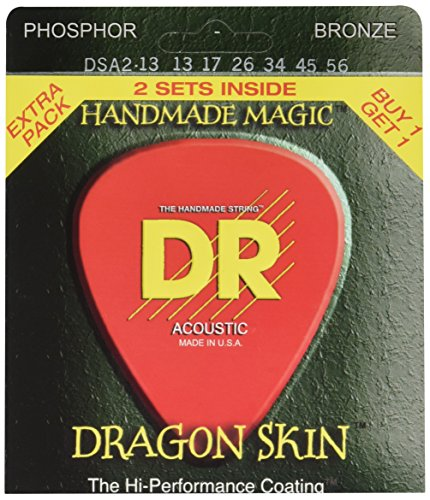 DR Strings DSA-2/13 Dragonskin Clear Coated Phosphor Bronze Acoustic Guitar Strings Value Pack